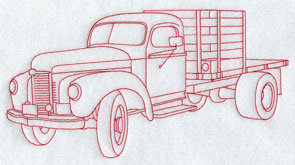 A Redwork antique farm truck machine embroidery design.