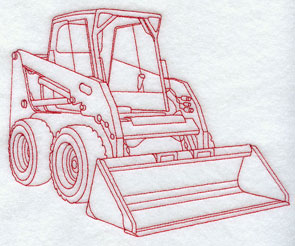 A Redwork skid steer loader machine embroidery design.