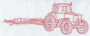 A Redwork tractor and plow machine embroidery design.