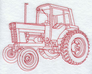 A Redwork tractor machine embroidery design.