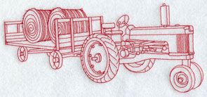 A Redwork tractor and hay wagon machine embroidery design.