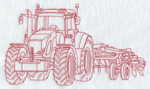 A Redwork tractor and cultivator machine embroidery design.