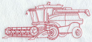 A Redwork combine tractor machine embroidery design.