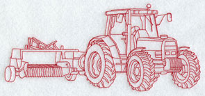 A Redwork tractor and baler machine embroidery design.