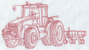 A Redwork tractor and planter machine embroidery design.