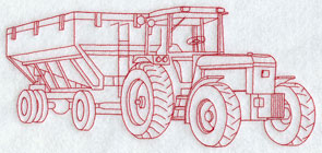 A Redwork tractor and gravity box machine embroidery design.
