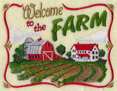 "An embroidered sampler that says ""Welcome to the Farm."""
