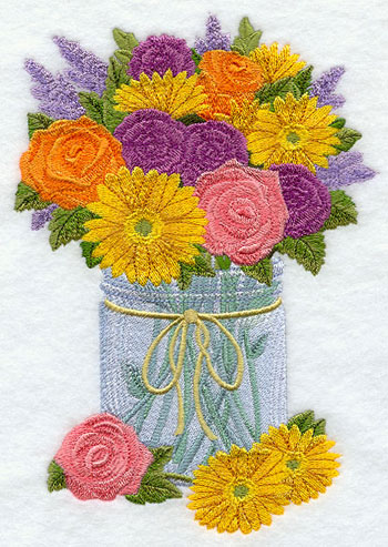 A flower bouquet in a Mason jar machine embroidery design.