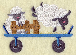 Two sheep and a tiny fence on a wagon machine embroidery design.