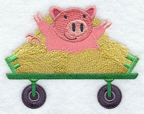 A pig jumps out of the hay.