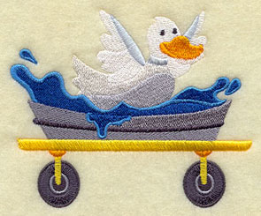 A duck splashes in his pool on a wagon.
