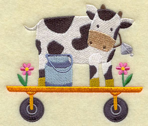 A cow with a cowbell and milk can on a wagon.