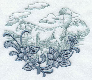 Flowers frame a horse and fence echo machine embroidery design.