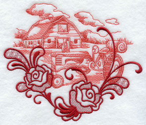 Flowers frame a tractor and barn farm scene echo machine embroidery design.