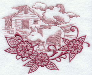 Flowers frame a pig and pen farm scene echo machine embroidery design.