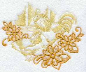 Flowers frame a chicken farm scene echo machine embroidery design.