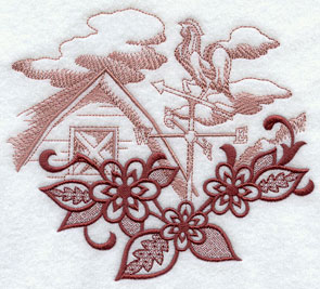 Flowers frame a weather vane and barn farm scene echo machine embroidery design.