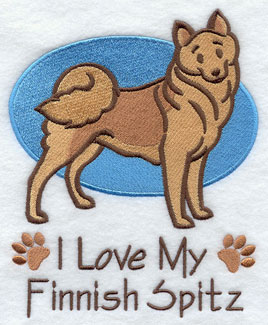I Love My Finnish Spitz dog machine embroidery design.