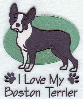 """I Love My Boston Terrier"" dog machine embroidery design."