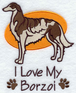 """I Love My Borzoi"" dog machine embroidery design."