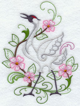 A crane raises his neck proudly in the spring flowers.