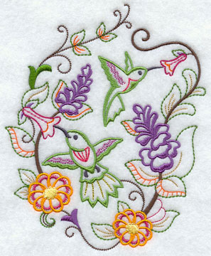 Hummingbirds and flowers in a machine embroidery design perfect for spring!