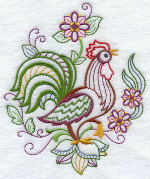 A rooster and floral machine embroidery design.