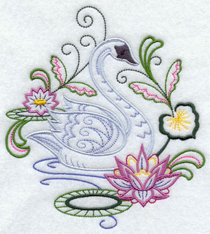 A swan floats on a pond with flowers machine embroidery design.
