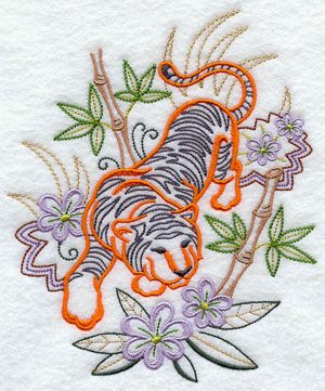 A tiger prowls through flowers and bamboo machine embroidery design.