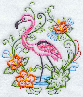 A flamingo and tropical flowers machine embroidery design.