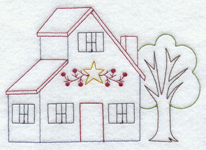 A country style saltbox house machine embroidery design.
