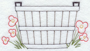 A quick stitching wash basin and flowers machine embroidery design.