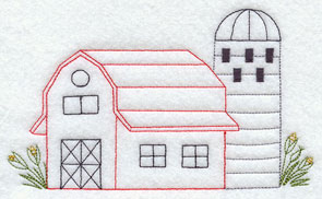 A quick stitching barn and silo machine embroidery design.