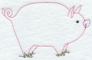 A quick stitching pig machine embroidery design.