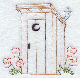 A quick stitching outhouse and flowers machine embroidery design.