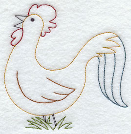 A quick stitching rooster machine embroidery design.
