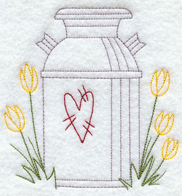 A quick stitching milk can and tulips machine embroidery design.