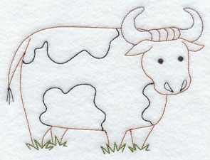 A quick stitching bull machine embroidery design.