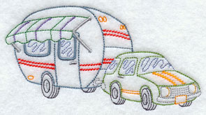 A vintage camper and hatchback machine embroidery design.
