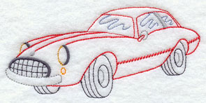 A vintage racing car machine embroidery design.