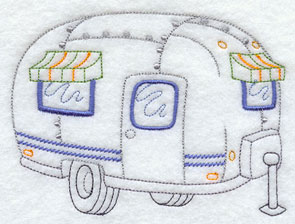 A vintage camper machine embroidery design.