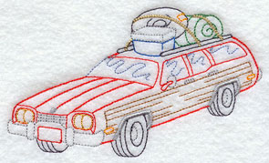 A vintage station wagon machine embroidery design.