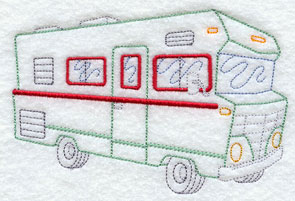 A vintage RV or recreational vehicle machine embroidery design.