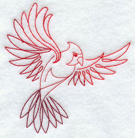 Quick-stitching cardinal machine embroidery design.