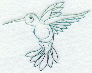 Quick-stitching hummingbird machine embroidery design.