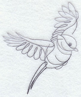 Quick-stitching chickadee machine embroidery design.