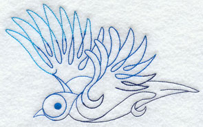 Quick-stitching bluejay machine embroidery design.