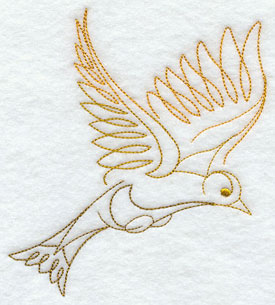 Quick-stitching finch machine embroidery design.