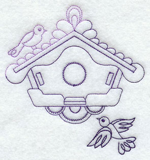 Birds and birdhouse in a quick-stitching machine embroidery design.
