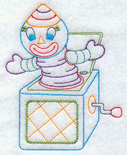 A jack-in-the-box machine embroidery design.